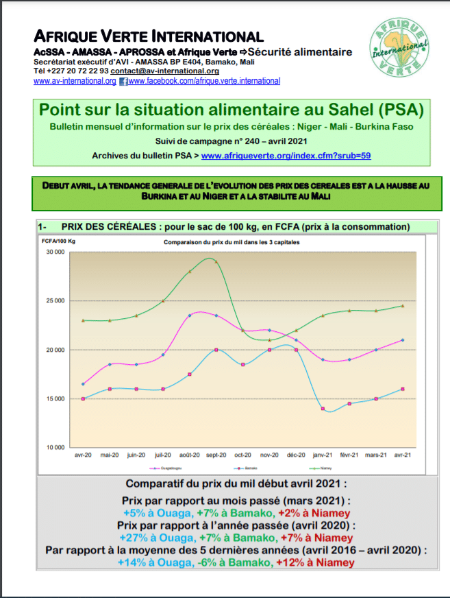 Point Situation Alimentaire n°240 - Avril 2021