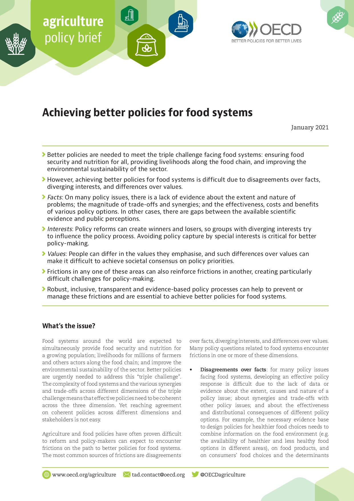 Achieving better policies for food systems