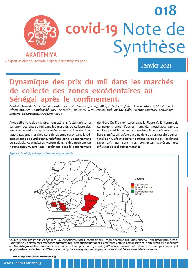 Note : Dynamique des prix du mil dans les marchés de collecte des zones excédentaires au Sénégal après le confinement