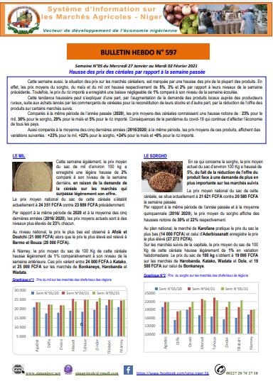 Bulletin hebdomadaire - Système d'information sur les marchés agricoles, Niger