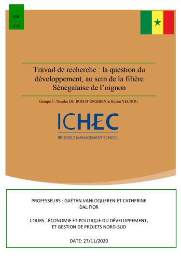 Recherche - La question du développement, au sein de la filière Sénégalaise de l'oignon