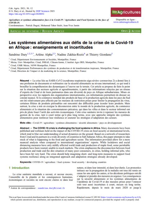 Article de synthèse - Les systèmes alimentaires aux défis de la crise de la Covid-19 en Afrique : enseignements et incertitudes