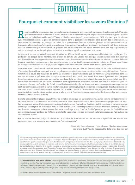 Editorial : Pourquoi et comment visibiliser les savoirs féminins ?