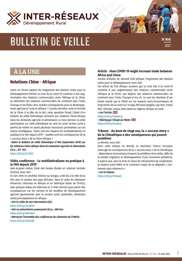 Bulletin de veille n°404
