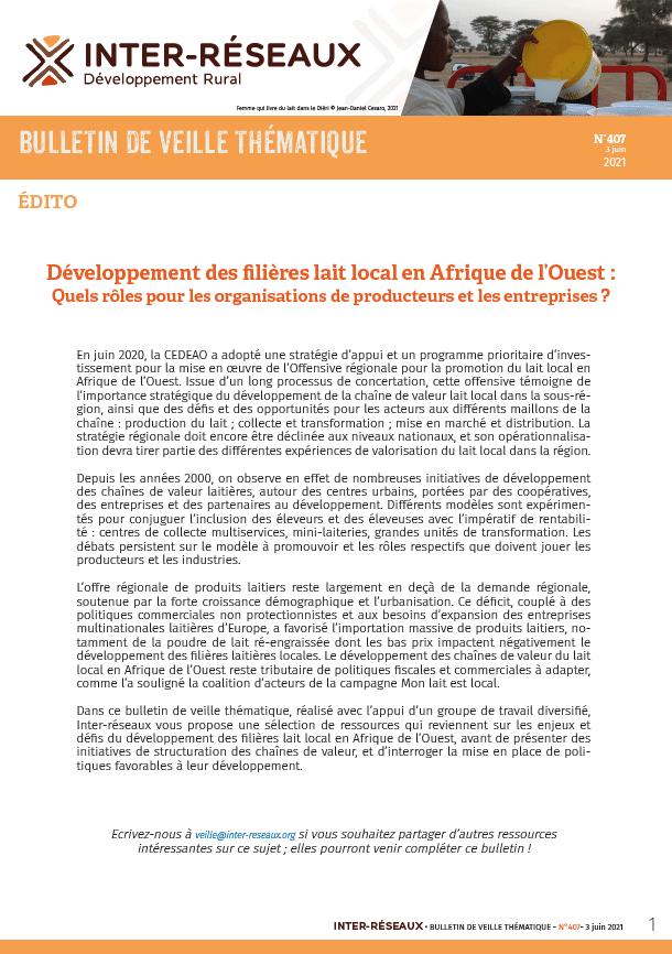 Bulletin de veille n°407 - Développement des filières lait local en Afrique de l'Ouest