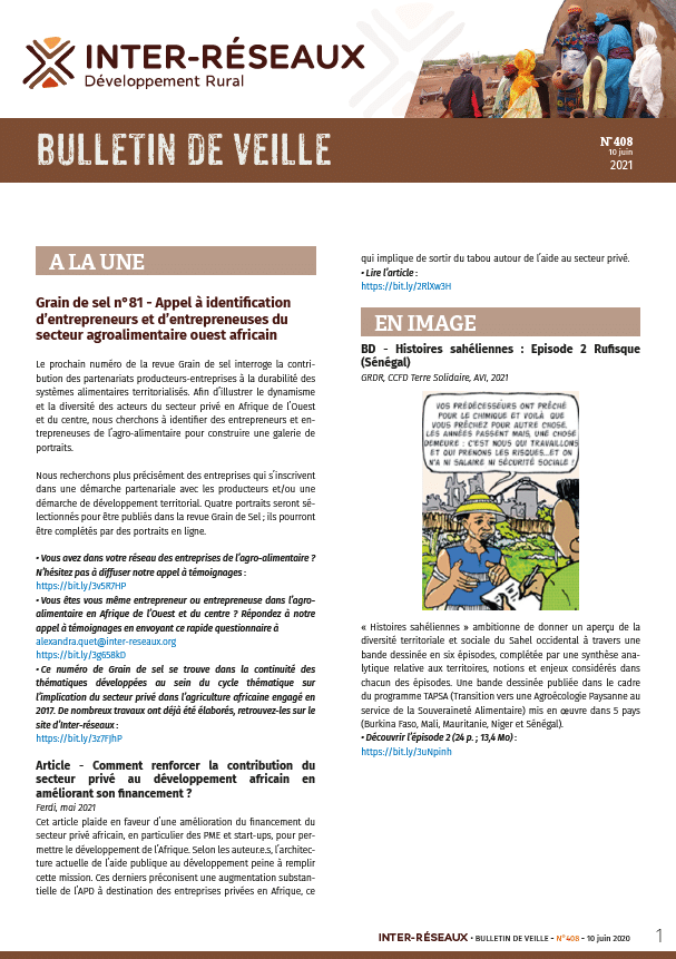 Bulletin de veille n°408