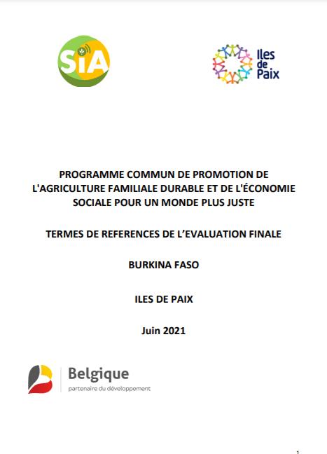 Appel d'offre - Evaluation finale du programme de promotion de l'agriculture familiale au Burkina Faso d'Iles de Paix