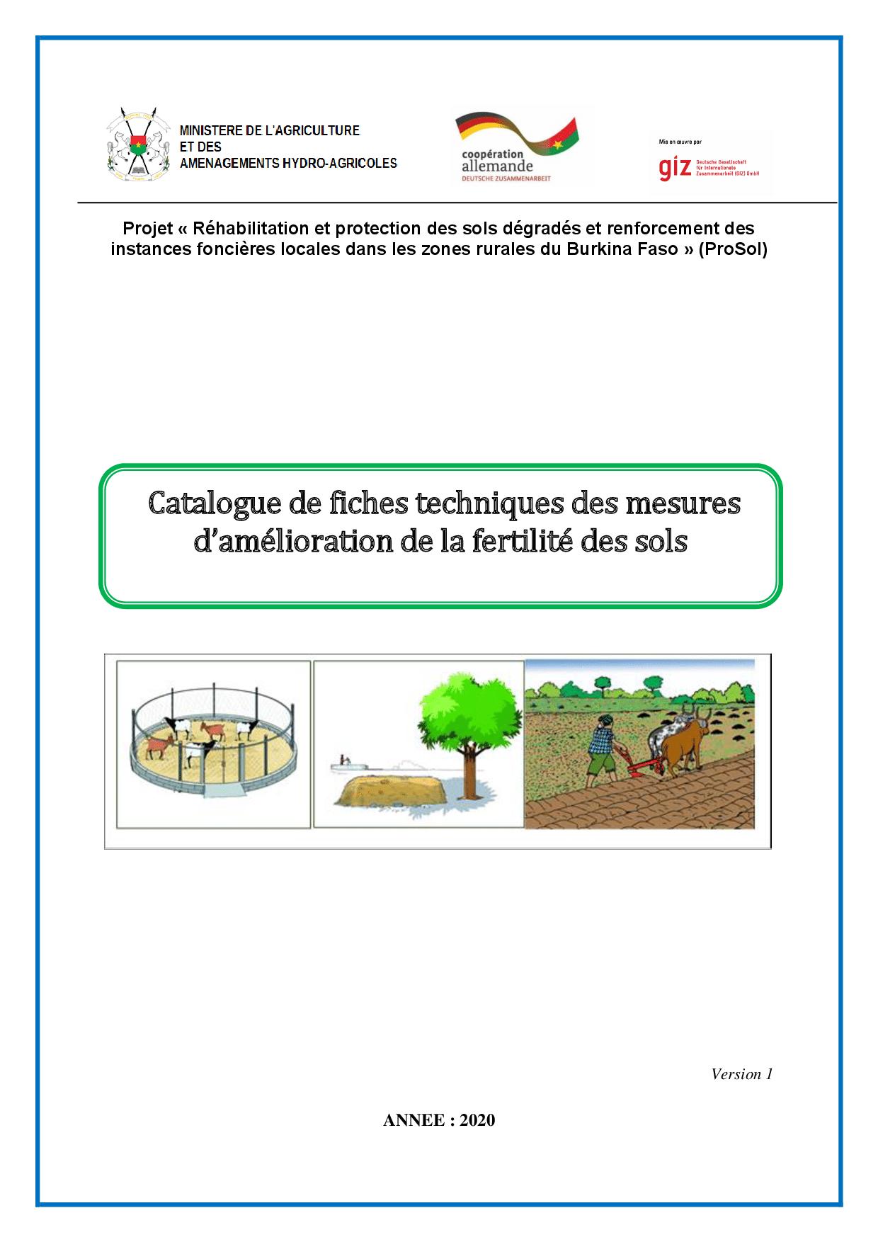  Catalogue de fiches techniques des mesures d'amélioration de la fertilité des sols