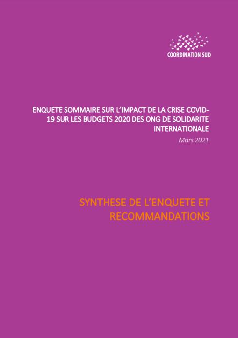 Enquête sommaire sur l'impact de la crise covid19 sur les budgets 2020 des ONG de solidarité internationale