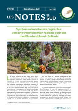 Notes de SUD #31 | Systèmes alimentaires et agricoles : vers une transformation radicale pour des modèles durables et résilients
