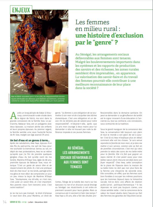 """Les femmes en milieu rural : une histoire d'exclusion par le """"genre"""" ?"""