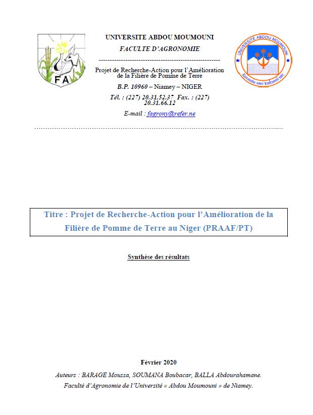 Synthèse des résultats du Projet de Recherche-Action pour l'Amélioration de la Filière de Pomme de Terre au Niger