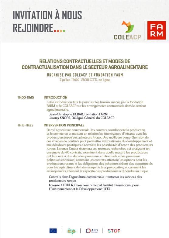 Webinaire - Relations contractuelles et modes de contractualisation dans le secteur agroalimentaire