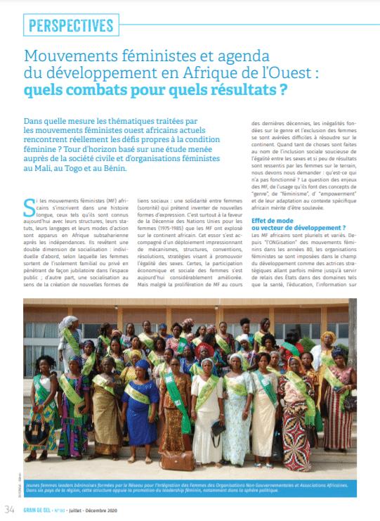 Mouvements féministes et agenda du développement en Afrique de l'Ouest : quels combats pour quels résultats ?