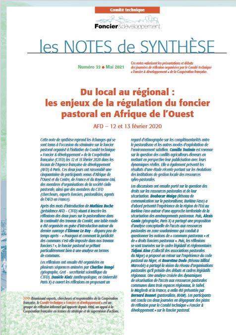 Du local au régional : les enjeux de la régulation du foncier pastoral en Afrique de l'Ouest