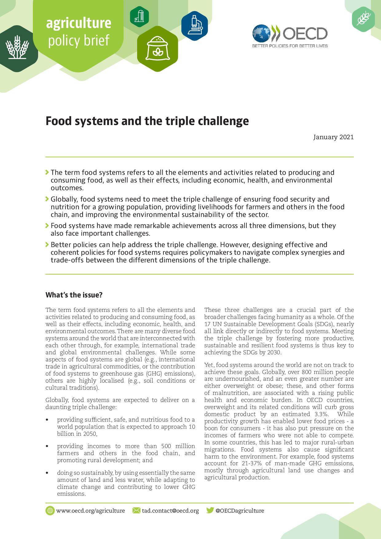 Food systems and the triple challenge