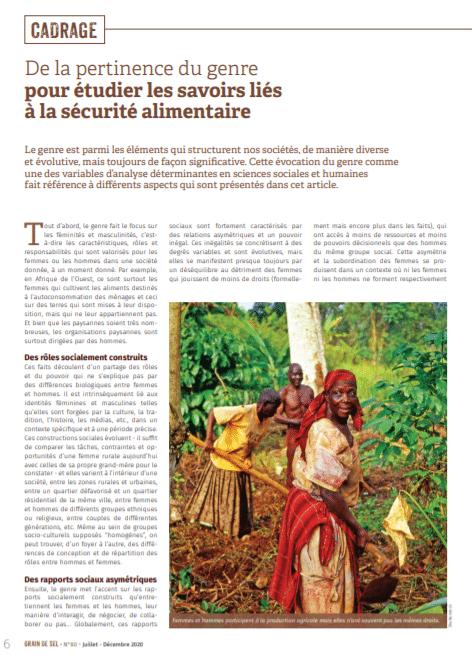 De la pertinence du genre pour étudier les savoirs liés à la sécurité alimentaire