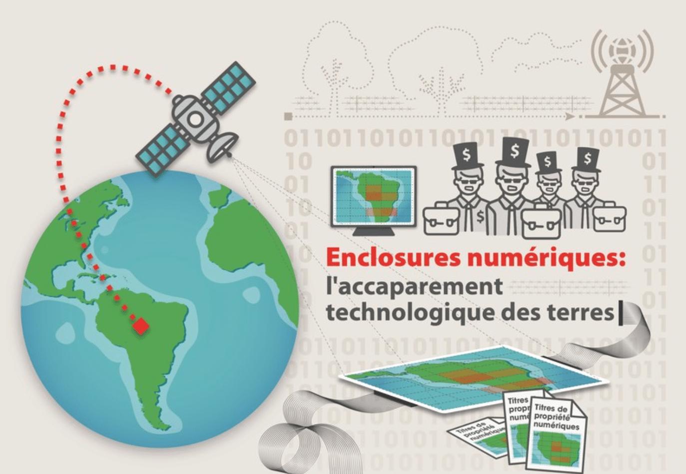 """Infographie : """"Enclosures numériques : l'accaparement technologique des terres"""""""