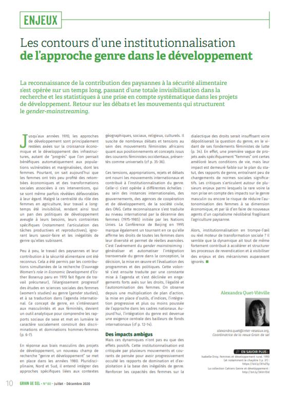 Les contours d'une institutionnalisation de l'approche genre dans le développement