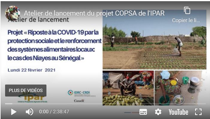 """Atelier de lancement du projet COPSA de l'IPAR : projet de recherche """"riposte à la COVID-19 par la protection sociale et la sécurité alimentaire au Sénégal : cas des Niayes"""""""