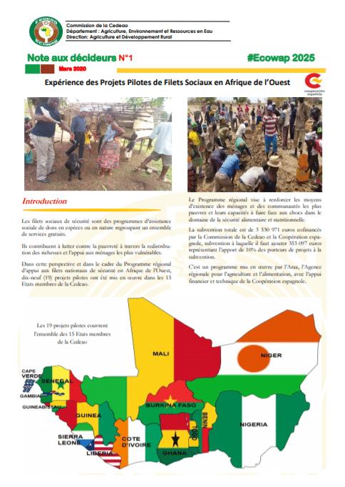 Note aux décideurs : Expérience des Projets Pilotes de Filets Sociaux en Afrique de l'Ouest
