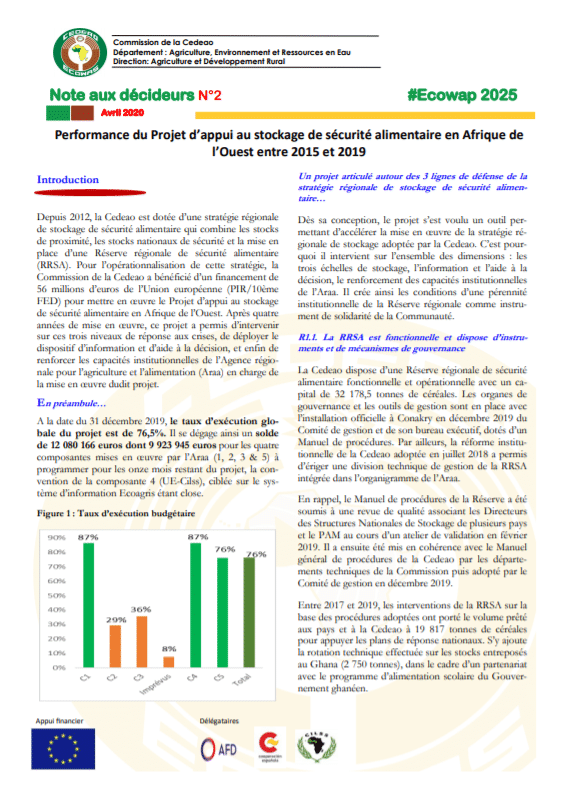 Note aux décideurs : Performance du Projet d'appui au stockage de sécurité alimentaire en Afrique de l'Ouest