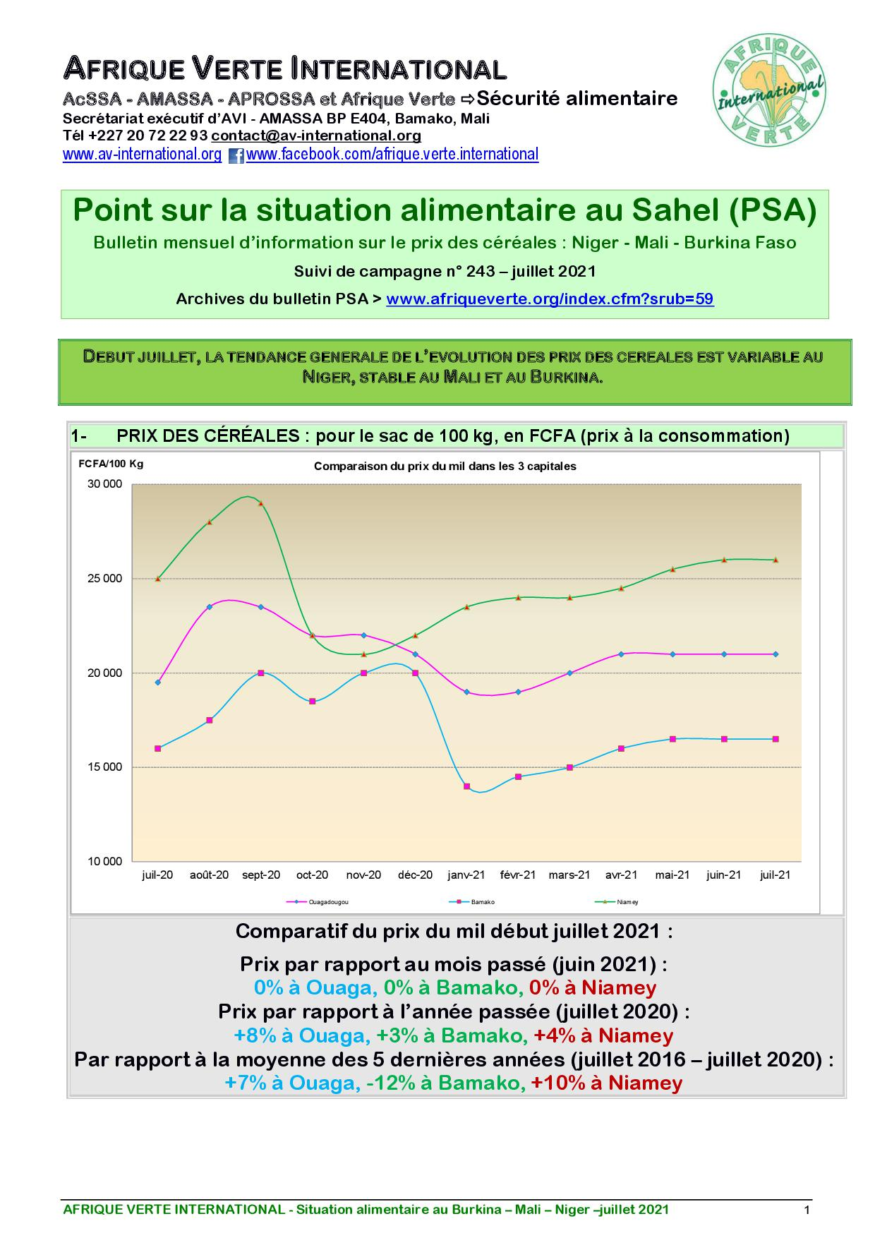 Point Situation Alimentaire n°243 - Juillet 2021