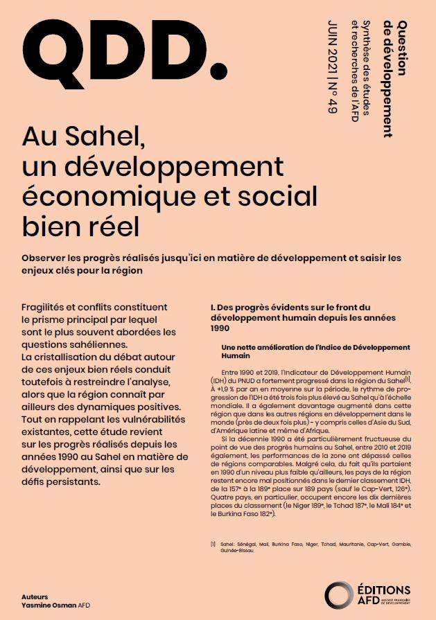 Note : Au Sahel, un développement économique et social bien réel
