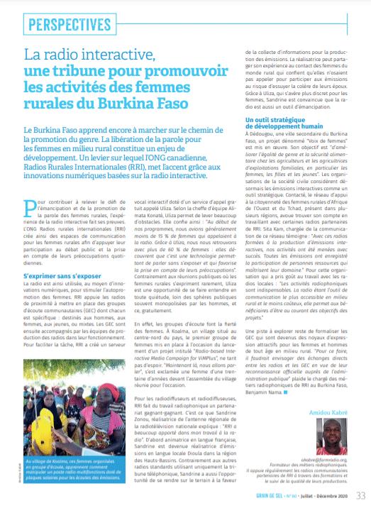 La radio interactive, une tribune pour promouvoir les activités des femmes rurales du Burkina Faso