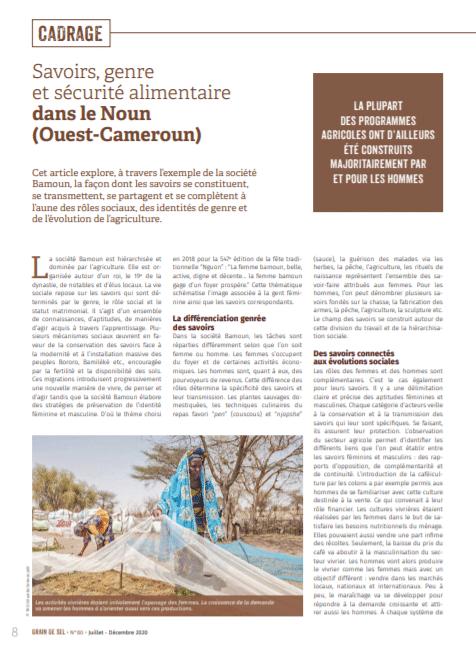 Savoirs, genre et sécurité alimentaire dans le Noun (Ouest-Cameroun)