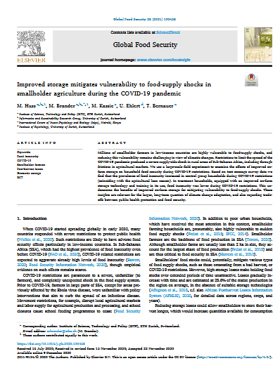 Improved storage mitigates vulnerability to food-supply shocks in smallholder agriculture during the COVID-19 pandemic