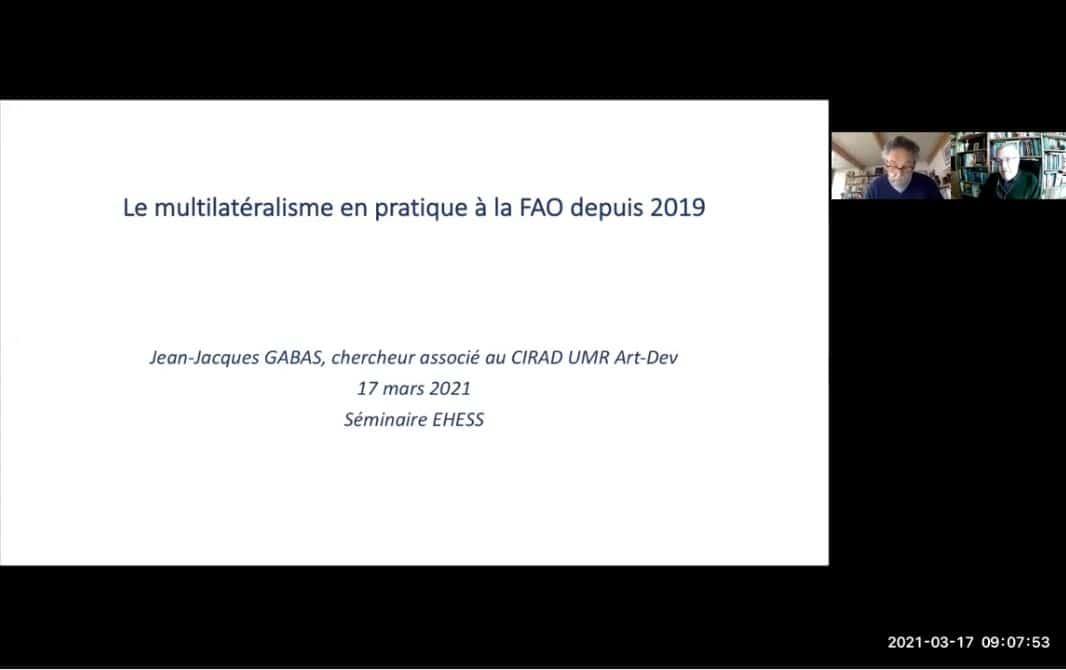 Le multilatéralisme en pratique à la FAO depuis 2019
