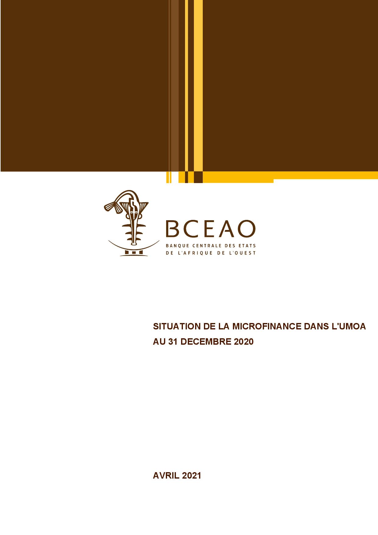 Situation de la microfinance dans l'UMOA au 31 décembre 2020