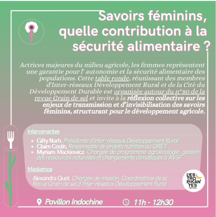 Festival Les Tropikantes - Savoirs féminins : quelle contribution à la sécurité alimentaire et nutritionnelle ?