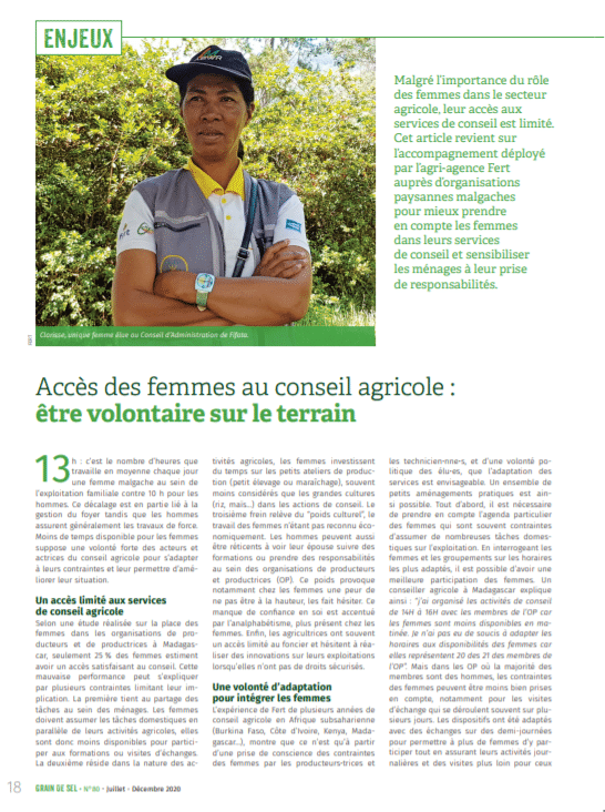 Accès des femmes au conseil agricole : être volontaire sur le terrain