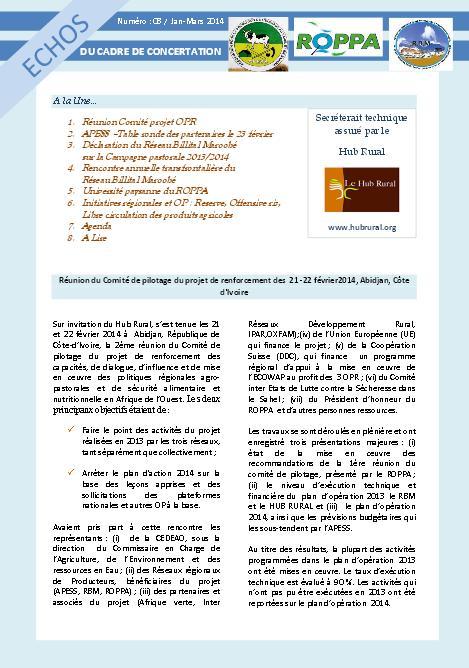 Publication - Echos du Cadre de Concertation inter-réseaux des producteurs en Afrique de l'Ouest : N°03