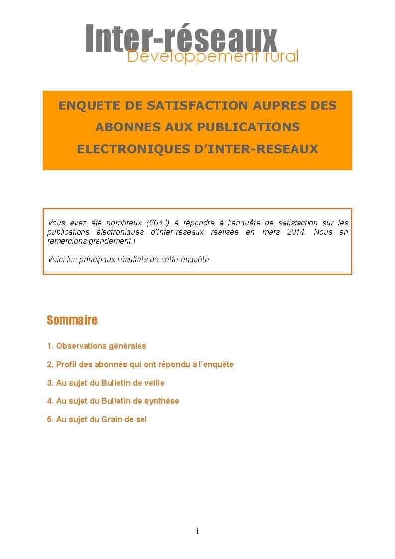 Synthèse de l'enquête de satisfaction auprès des abonnés aux publications électroniques d'Inter-réseaux