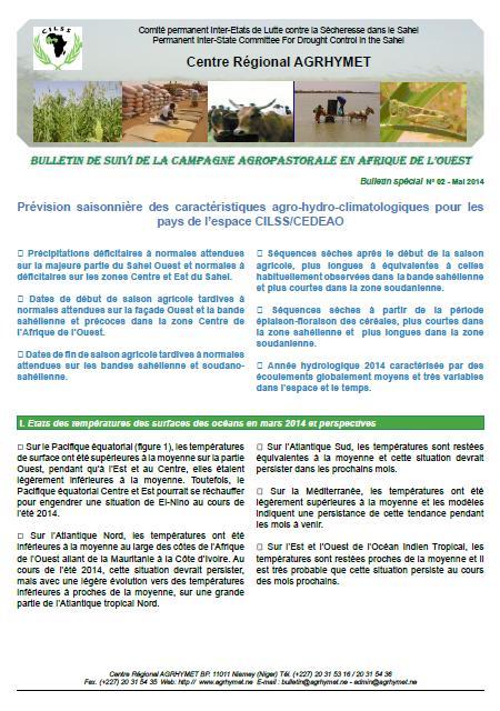 Bulletin Agrhymet de suivi de la campagne agropastorale en Afrique de l'Ouest - n°2, Mai 2014