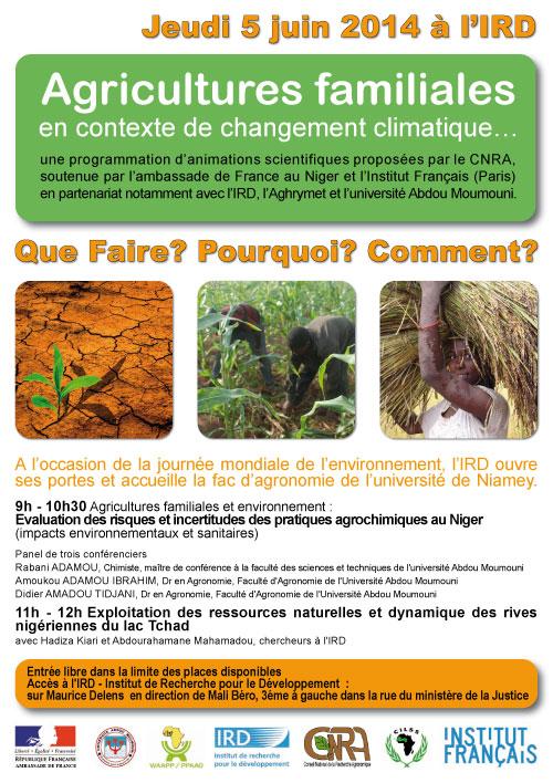 5 juin 2014 (Niamey) : les agricultures familiales en contexte de changement climatique : conférences à l'IRD