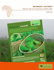 Oakland Institute Report: We harvest you profit: African Land Ltd's Land Deal in Sierra Leone