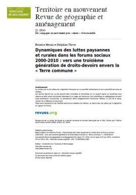 Note d'analyse: Dynamiques des luttes paysannes et rurales dans les forums sociaux 2000- 2010 : vers une troisième génération de droits-devoirs envers la « Terre commune »