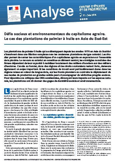 Note d'analyse : Défis sociaux et environnementaux du capitalisme agraire. Le cas des plantations de palmier à huile en Asie du Sud-Est
