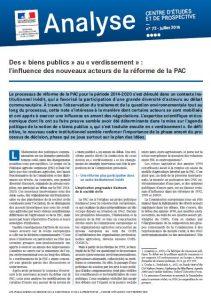 Note d'analyse : Des « biens publics » au « verdissement » : l'influence des nouveaux acteurs de la réforme de la PAC