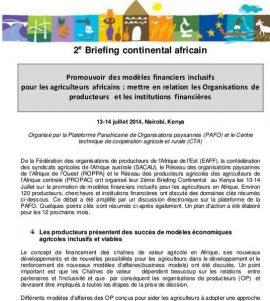 """Résumé du 2e Briefing Continental Africain sur le thème """"Promouvoir des modèles financiers inclusifs pour les agriculteurs africains : mettre en relation les Organisations de producteurs et les institutions financières """""""