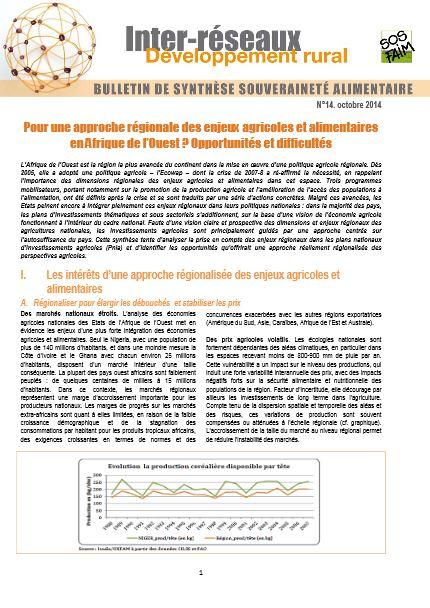 Bulletin de synthèse n°14 - Pour une approche régionale des enjeux agricoles et alimentaires en Afrique de l'Ouest ? Opportunités et difficultés