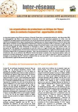 Bulletin de synthèse n°13 - Les OP en Afrique de l'Ouest dans le contexte d'aujourd'hui : opportunités et défis