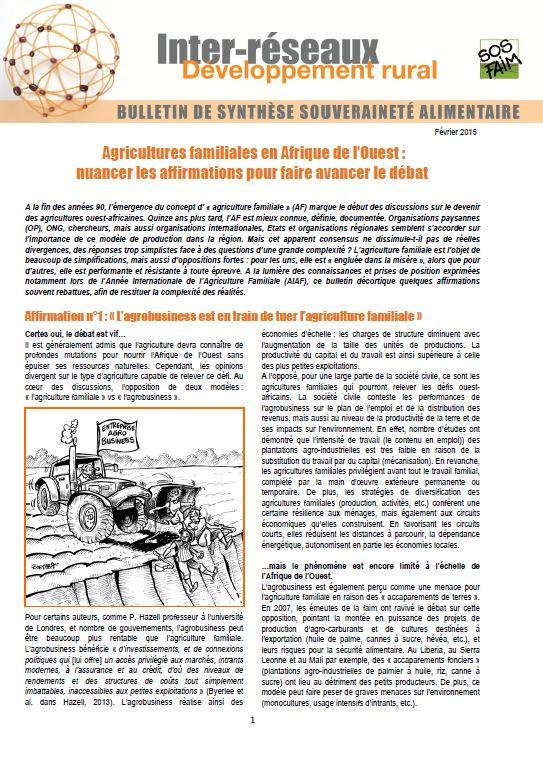 Bulletin de synthèse n°15 - Agricultures familiales en Afrique de l'Ouest : nuancer les affirmations pour faire avancer le débat