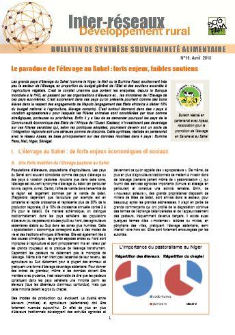 Bulletin de synthèse n°16 - Le paradoxe de l'élevage au Sahel : forts enjeux, faibles soutiens