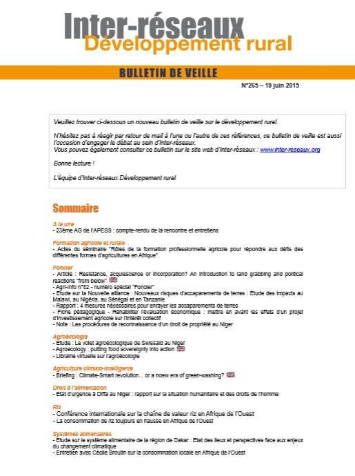 Bulletin de veille n°265 - 19 juin 2015