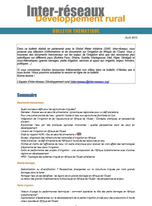 Bulletin de veille n°260 - Spécial irrigation